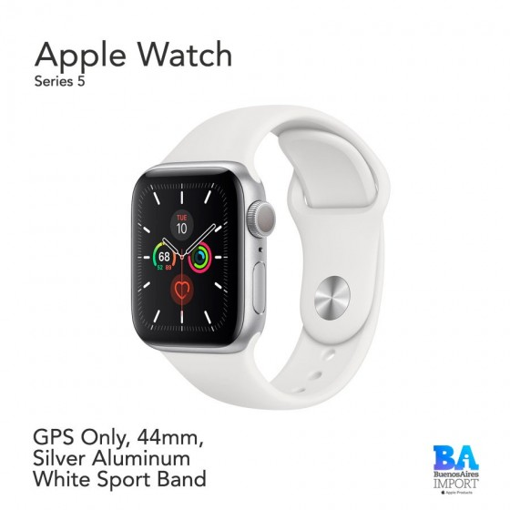 Watch Sport 44mm [SERIES 5] Silver Aluminum  White Sport Band