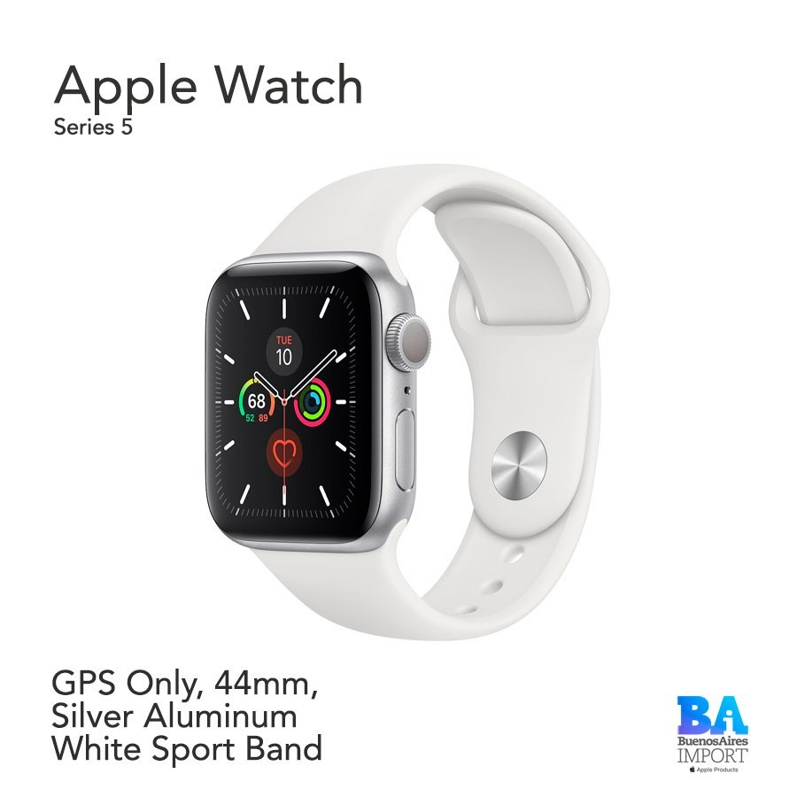 Watch Sport 44mm [SERIES 5] Silver Aluminum White Sport Band