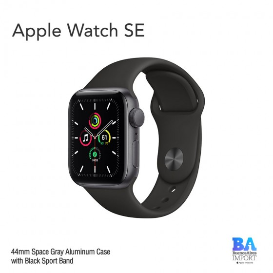 Apple Watch 44mm [SE] Space Gray Aluminum Case with Black Sport Band