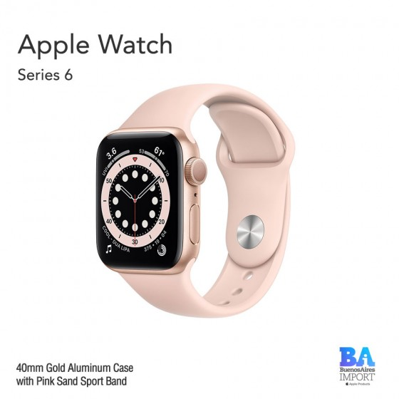 Apple Watch 40mm [SERIES 6] Gold Aluminum Case with Pink Sand Sport Band