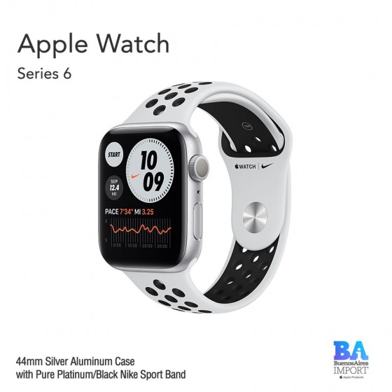 Apple Watch 44mm [SERIES 6] Silver Aluminum Case with Pure Platinum/Black...