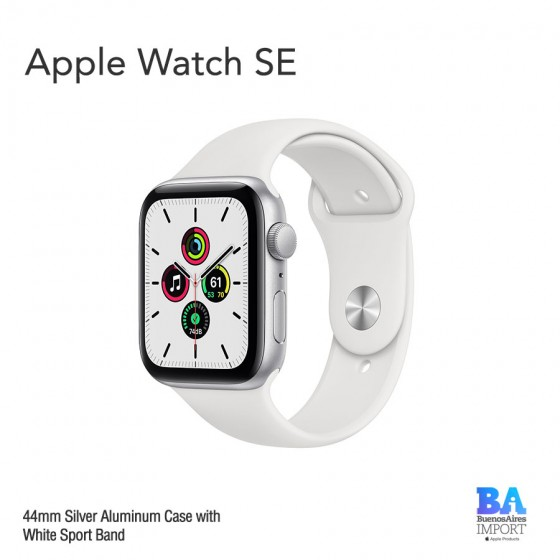 Apple Watch 44mm [SE] Silver Aluminum Case with White Sport Band