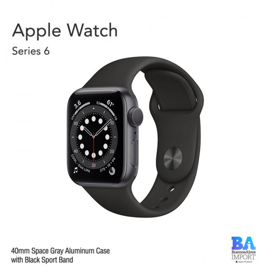 Apple Watch 40mm [SERIES 6] Space Gray Aluminum Case with Black Sport Band