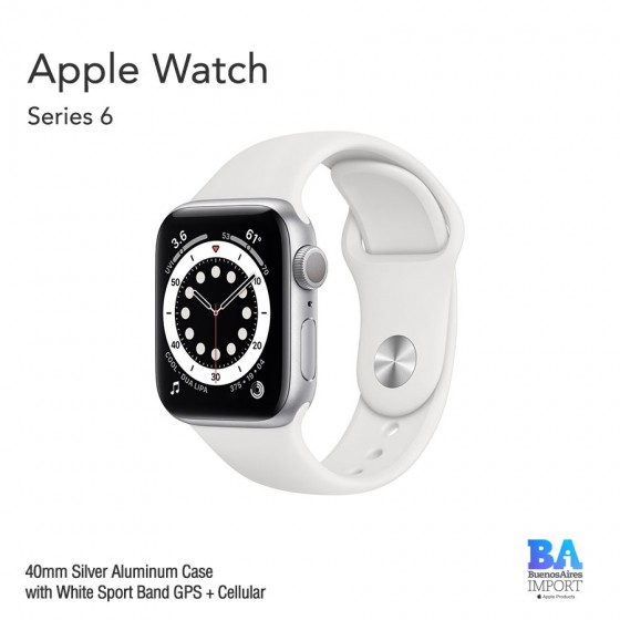 Apple Watch 40mm [SERIES 6] Silver Aluminum Case with White Sport Band GPS +...