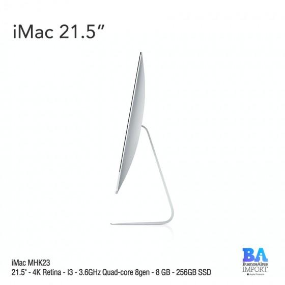 """iMac 21.5"""" (MHK23) 4K Retina - I3 - 3.6GHz Quad-core 8gen - 8 GB - 256GB SSD"""