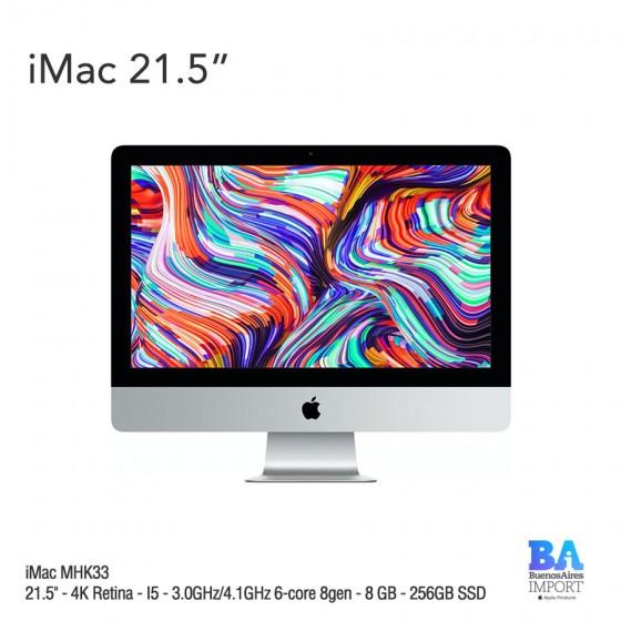 """iMac 21.5"""" (MHK33) 4K Retina - I5 - 3.0GHz/4.1GHz 6-core 8gen - 8 GB - 256GB SSD"""