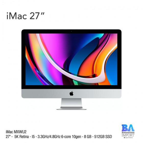 """iMac 27"""" (MXWU2) 5K Retina - I5 - 3.3GHz/4.8GHz 6-core 10gen - 8 GB - 512GB SSD"""