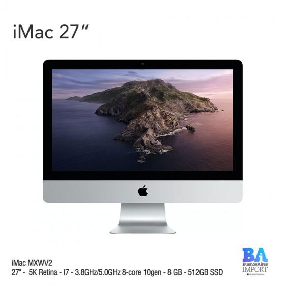 """iMac 27"""" (MXWV2) 5K Retina - I7 - 3.8GHz/5.0GHz 8-core 10gen - 8 GB - 512GB SSD"""
