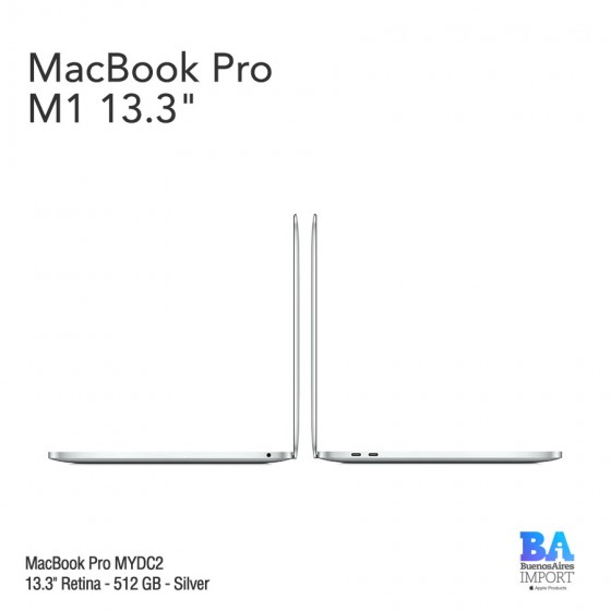 "MacBook Pro 13.3"" Retina [MYDC2] M1 Chip 512 GB - Silver"