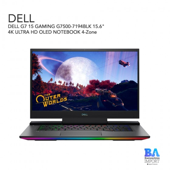"""DELL G7 15 GAMING G7500-7194BLK 15.6"""" 4K ULTRA HD OLED NOTEBOOK 4-Zone RGB..."""