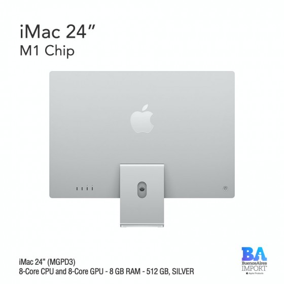 "iMac 24"" M1 Chip (MGPD3) with 8-Core CPU and 8-Core GPU 512 GB, SILVER"