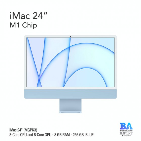 "iMac 24"" M1 Chip (MGPK3) with 8-Core CPU and 8-Core GPU 256 GB, BLUE"