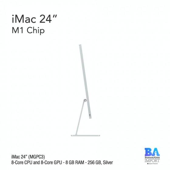 "iMac 24"" M1 Chip (MGPC3) with 8-Core CPU and 8-Core GPU 256 GB, SILVER"