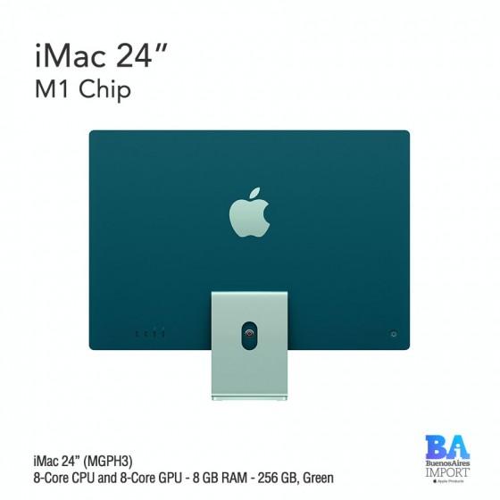 "iMac 24"" M1 Chip (MGPH3) with 8-Core CPU and 8-Core GPU 256 GB, GREEN"