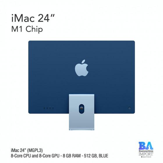 "iMac 24"" M1 Chip (MGPL3) with 8-Core CPU and 8-Core GPU 512 GB, BLUE"