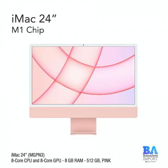 "iMac 24"" M1 Chip (MGPN3) with 8-Core CPU and 8-Core GPU 512 GB, PINK"