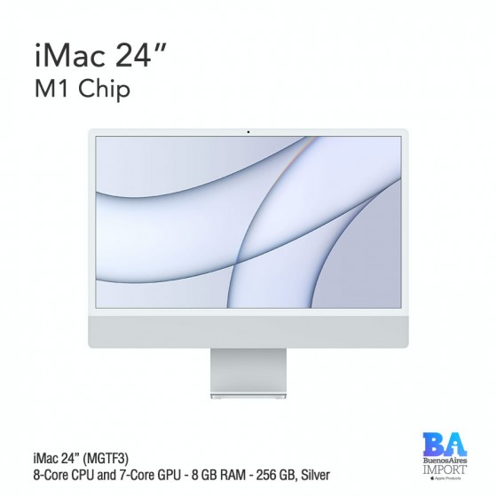 "iMac 24"" M1 Chip (MGTF3) with 8-Core CPU and 7-Core GPU 256 GB, SILVER"